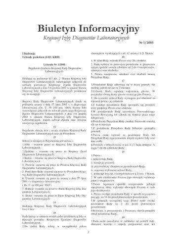 Biuletyn Informacyjny - Krajowa Izba Diagnostów Laboratoryjnych
