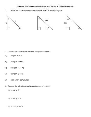 Worksheets Vector Worksheet physics vector worksheet davezan answers intrepidpath