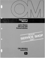 John Deere 300 and 400 Snowmobiles OM-M66064 ... - Vintage Snow