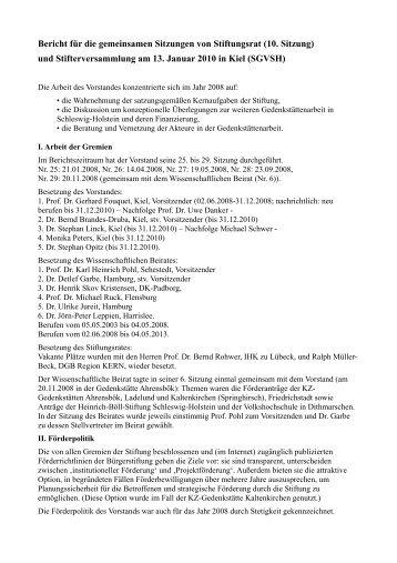 Bericht für die gemeinsamen Sitzungen von Stiftungsrat (10. Sitzung ...