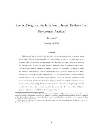 Auction Design and the Incentives to Invest: Evidence from ... - Cemfi