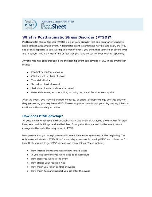 (PTSD)? - The USARAK Home Page