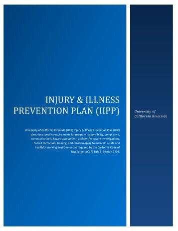Injury & Illness Prevention Plan - Environmental Health & Safety ...