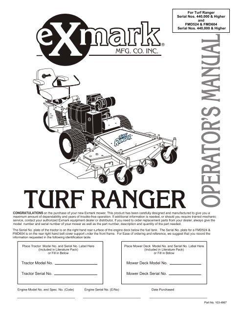 For Turf Ranger Serial Nos 440 000 Higher And Fmd524 Exmark