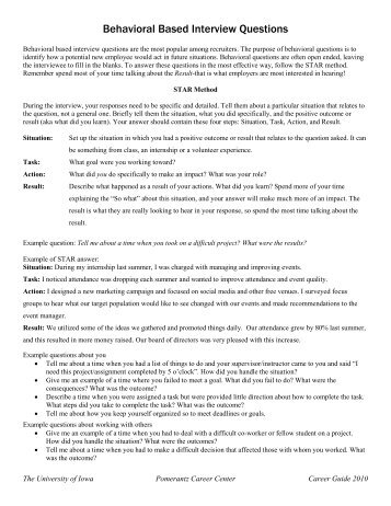 BEHAVIOR BASED SAMPLE INTERVIEW QUESTIONS
