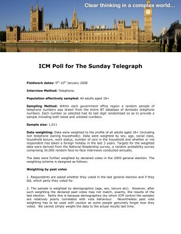 Political & religious poll for Sunday Telegraph - ICM Research