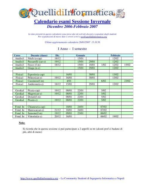 Calendario Esami.Calendario Esami Sessione Invernale Quelli Di Informatica