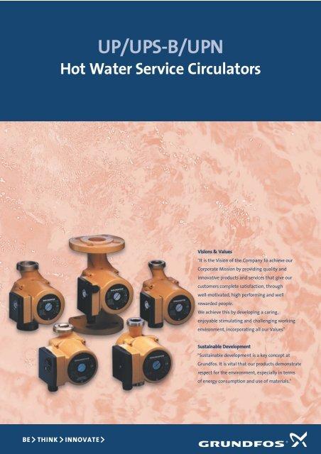 UP/UPS-B/UPN Hot Water Service Circulators - Anchor Pumps