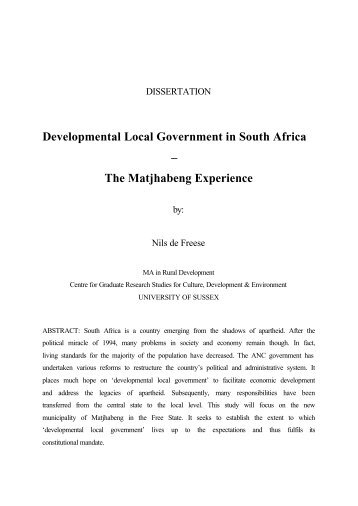 Developmental Local Government in South Africa – The ... - Gtz