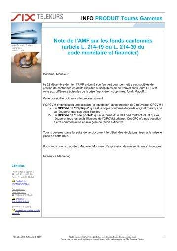 INFO PRODUIT Toutes Gammes Note de l'AMF sur ... - SIX Telekurs