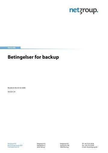 Betingelser for backup - Netgroup