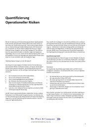 Quantifizierung Operationeller Risiken - Dr. Peter & Company AG