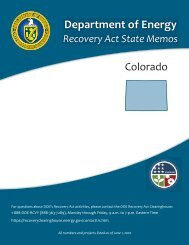 Colorado Recovery Act State Memo - U.S. Department of Energy