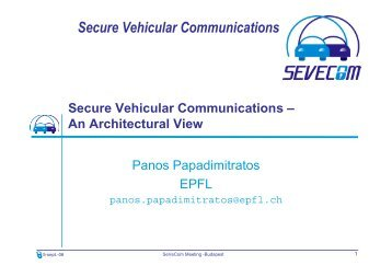 Secure Vehicular Communication Architecture - Sevecom