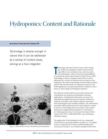 Hydroponics: Content and Rationale - Technology