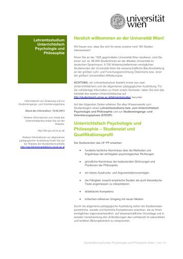Unterrichtsfach Psychologie und Philosophie - Fachdidaktikzentrum ...