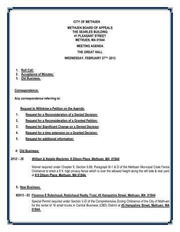 2/27/13 Zoning Board Agenda - Methuen