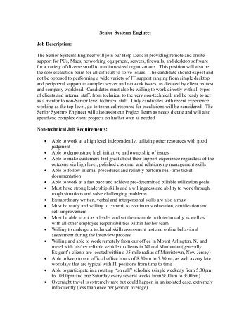 Senior Network Engineer Job Description May 2013   - Balboa Park