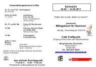 Mittagstisch für Senioren Café Treffpunkt - Bürgerzentrum Chorweiler