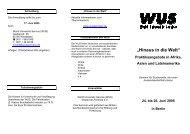 """""""Hinaus in die Welt"""" - World University Service"""
