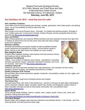 Niagara Peninsula Geological Society 2012 Gem, Mineral ... - CCFMS