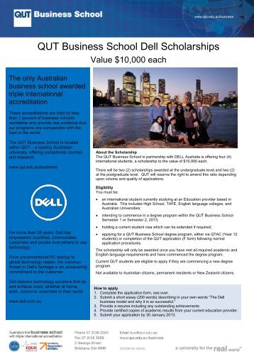 QUT Business School Dell Scholarship application Form