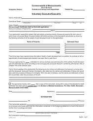 Voluntary Executor/Executrix - Hampshire County Probate and ...