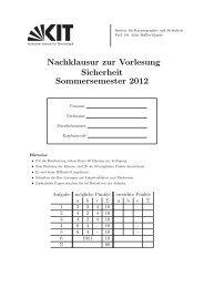 Nachklausur zur Vorlesung Sicherheit Sommersemester 2012 - IKS