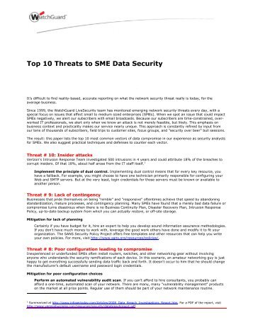 Top 10 Threats to SME Data Security - Advanced Network Systems