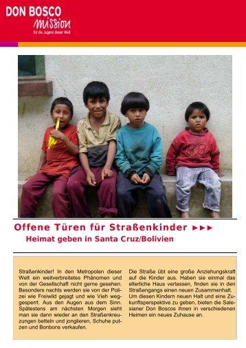 Bolivien Straßenkinder - Don Bosco Volunteers