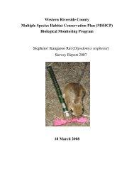 Stephens' Kangaroo Rat Survey Report 2007 - Western Riverside ...