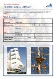 Trainee Recruitment Data Sheet - Sail Training International