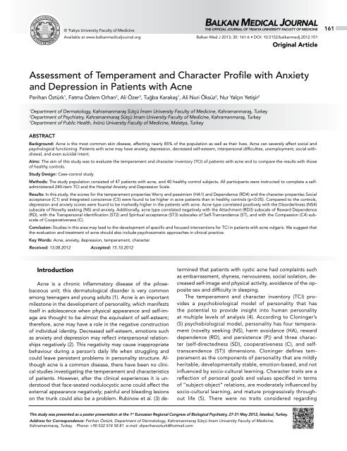 The Biology Of Anxious Temperament May >> Assessment Of Temperament And Character Profile With Anxiety And