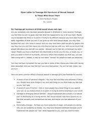 Open Letter to Teenage Girl Survivors of Sexual Assault & Those ...