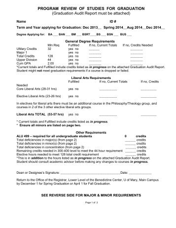 Personal Graduation Plan: Detailed Planning Form and Credit ...