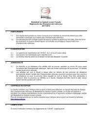Dossier technique des Championnats nationaux 2011-2012