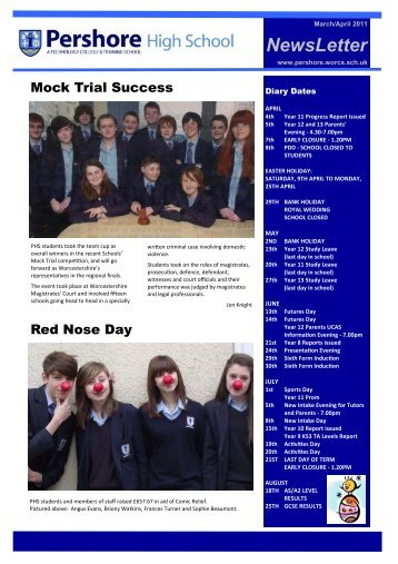 1) NEWSLETTER MARAPR - 310311 - Pershore High School
