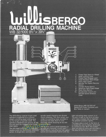 Willis Radial Drilling Machine Brochure - Sterling Machinery