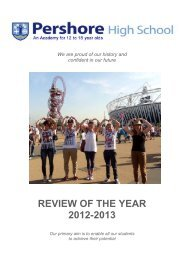 REVIEW OF THE YEAR 2012-2013 - Pershore High School