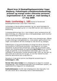 Vedr: Lovforslag L. 165 fremsat af daværende