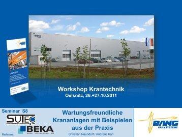 Workshop Krantechnik Wartungsfreundliche Krananlagen mit ...