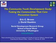 The Community Youth Development Study: Testing the ...