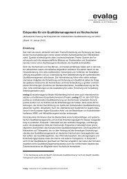 Eckpunkte für ein Qualitätsmanagement an Hochschulen - Die evalag