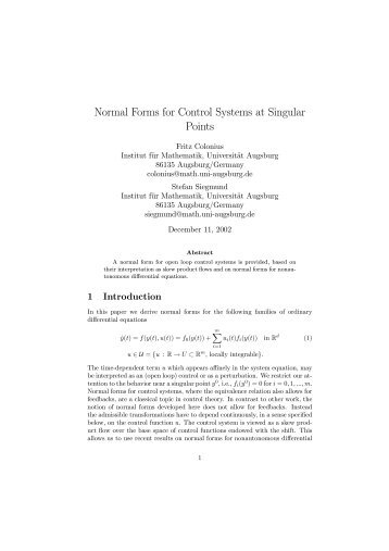 Normal Forms for Control Systems at Singular Points - Universität ...