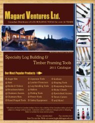 Specialty Log Building & Timber Framing Tools