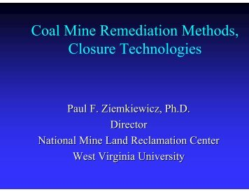 Coal Mine Remediation Methods, Closure Technologies