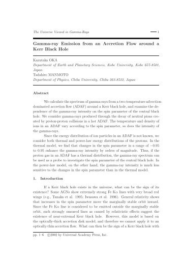 Gamma-ray Emission from an Accretion Flow around a Kerr Black ...