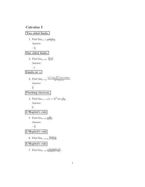Calculus I Practice Exam (pdf)