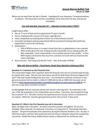 Annual Warren Buffett Trek - Graham And Doddsville