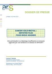 Dossier de presse régional - 23 mars 2012 - ARS Limousin